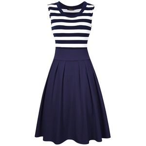 Dresses & Skirts - {boutique} NWT Navy Stripe A-Line Dress